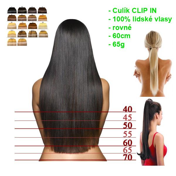 Culík CLIP IN na prodloužení rovné 60cm 6422c197538